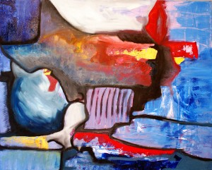 Composição orgânico-geométrica a Lembrança do seu beijo. Acrílico e óleo sobre tela, 80x100 Cm. 2014. Galeria ArthistaUm. Disponível