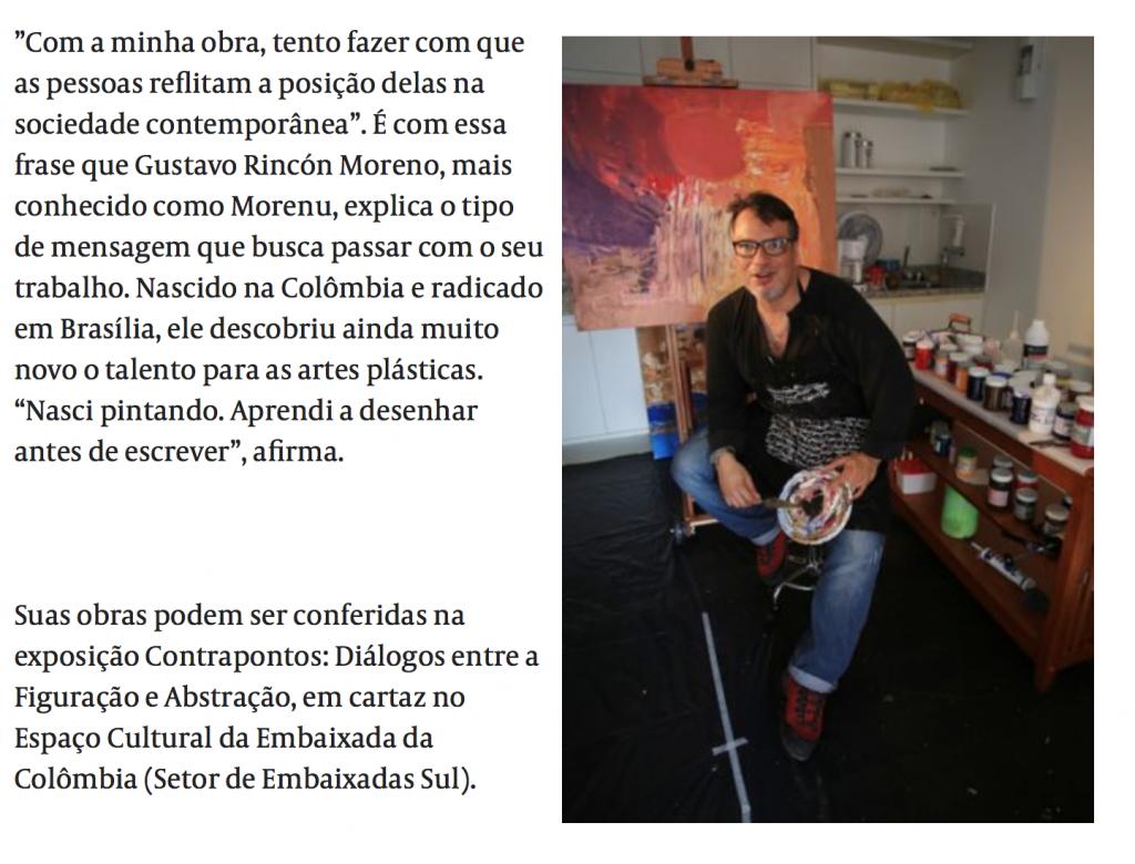 Morenu no seu ateliê. Jornal de Brasília.  Foto: Rafaela Felicciano.